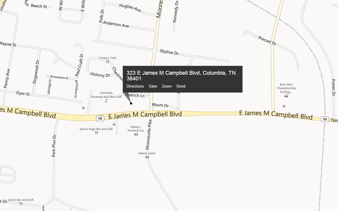 map with address location of 323 E James M Campbell Bldv, Columnbia, TN 38401